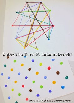 Have a tough time explaining or visualizing Pi's digits to kids?  Try turning the digits of Pi into fun, and colorful artwork!  Now you can really visualize the randomness of the numbers!  Full directions on the website!