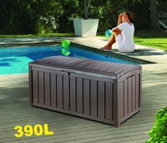 Lockable Storage Box Plastic Shed Brown Large Garden Unit Containers Cube Outdoor External Outside Square Garage Utility Heavy Duty Furniture Bench Tool Weatherproof &E Book - Rattan Furniture SHOP UK Interior Furniture Plastic Garden Storage Box, Plastic Sheds, Garden Tool Storage, Patio Storage Bench, Outdoor Storage Boxes, Storage Ideas, Storage Solutions, Pool Storage, Bench Furniture