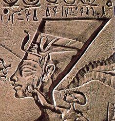 Nefertiti family portrait; ancient, carving, Egypt, profile, bas-relief
