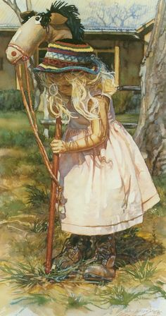 Little girl and her hobby horse watercolor painting by Steve Hanks