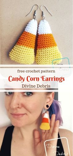 Putting the Candy in the Corn - Crochet Fall, All Free Crochet, Holiday Crochet, Learn To Crochet, Easy Crochet, Tutorial Crochet, Crochet Jewelry Patterns, Halloween Crochet Patterns, Crochet Accessories
