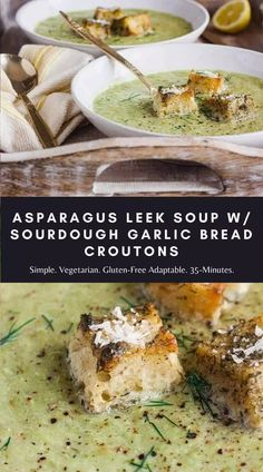 This creamy asparagus leek soup with sourdough garlic bread croutons is a simple and delightful way to enjoy fresh seasonal Spring produce. It's vegetarian and gluten-free adaptable. #asparagusleeksoup #asparagussoup #creamyasparagussoup #leeksoup #leeksrecipe Asparagus Leek Soup, Creamy Asparagus, Healthy Soup Vegetarian, Vegetable Soup Healthy, Chowder Recipes, Soup Recipes, Creamy Carrot Soup, Homemade Soup