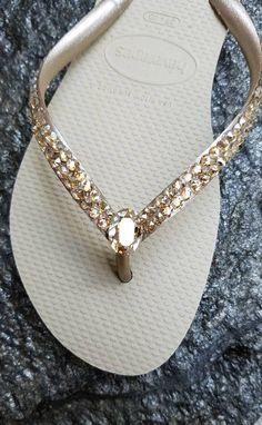 70dfbdef8 Havaianas Bridal Swarovski Crystal Rhinestone Flip Flops- Size 9 10 by  SatinSassy on Etsy