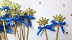 Children's Party Decorations – 12 Royal Prince Crown Cupcake Toppers – a unique product by MagicalStart on DaWanda Princess First Birthday, Prince Birthday Party, Baby Boy First Birthday, Princess Theme, First Birthday Parties, First Birthdays, Crown Cupcake Toppers, Princess Cupcake Toppers, Crown Cupcakes