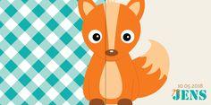 Geboortekaartje: Lief vosje met ruitpatroon - voorkant
