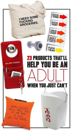 23 Products That'll Remind You How To Be An Adult. Really like a lot of these...funny post it notes, message pillow, etc