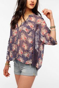 Angie Lace Inset Balloon Blouse  #UrbanOutfitters