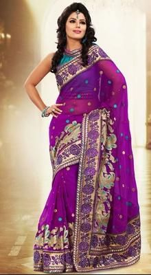 Awesome Purple Embroidered Saree