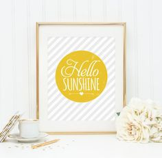 awesome Citation - Hello Sunshine Typography Poster, Inspirational Quote, Motivational Art, Postcard, Print, Home Decor, Wall Decor, A5, A4, A3 Check more at https://listspirit.com/citation-hello-sunshine-typography-poster-inspirational-quote-motivational-art-postcard-print-home-decor-wall-decor-a5-a4-a3/