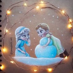 "800 Likes, 27 Comments - Jenna Steele (@jennasteele_art) on Instagram: ""Do you want to build a snowman ☃️❄️ #frozen #disney #elsa #anna #winter #snowman #disneyprincess…"" frozen"