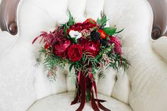 26 Wedding Bouquets for Winter Brides & Their Maids ~ stunning bouquet of deep reds with velvet ribbon