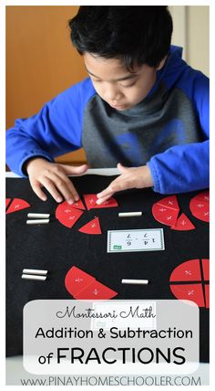 Learning how to add and subtract fractions with the same denominator the Montessori way #montessori #math #homeschool #fractions