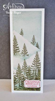 Stampin' Up ideas and supplies from Vicky at Crafting Clare's Paper Moments: Snowy slopes Christmas card using Festival of Trees from Stampin' Up