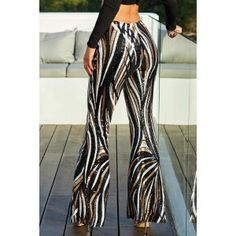 Black Swirl Sequin Kick Flare Trousers It's time to up your party game with a pair of this seasons most wanted trophy trousers Crop Top Shirts, Crop Tops, Affordable Work Clothes, Fashion Pattern, Jumpsuit With Sleeves, Pants For Women, Clothes For Women, Swirl Pattern, Plus Size Outfits