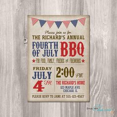 4th of July Invitation  Fourth of July by StyleswithCharm on Etsy, $12.00