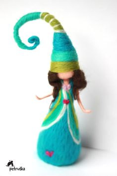 redhead dwarf in green needle felted waldorf inspired home
