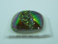 14mmx20mm Titanium Green/Gold/Purple Iris Druzy Quartz by Nikia, $15.00