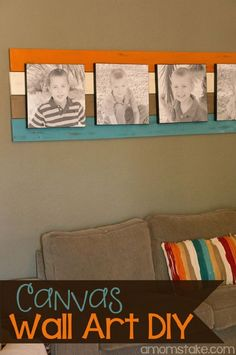 DIY Canvas Wall Art Focal Point - 15 Cheap DIY Photo Canvas Tutorials | GleamItUp