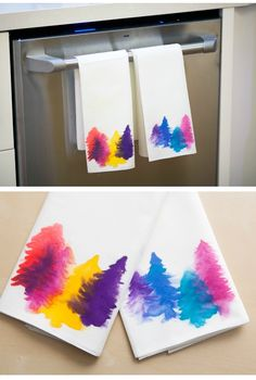 Watercolor Tea Towels - Must Do DIY Towels Tutorials