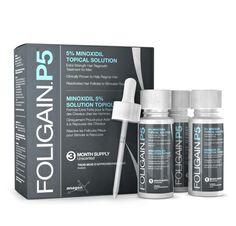 FOLIGAIN.P5® 5% MINOXIDIL FLÜSSIG für Haarnachwuchs -- Stoppt Haarausfall & Stimuliert Haar Follikel