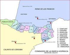 Mapa con todos los condados de la Marca Hispánica y Vasconia.