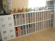 Fabulous Paper Storage in this craft room. You could use this idea for a sewing room and store your dressmaking patterns instead. Scrapbook Room Organization, Scrapbook Storage, Craft Organization, Scrapbook Rooms, Organizing Life, Scrapbook Paper, Space Crafts, Home Crafts, Craft Space