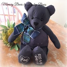 Memory Bears, First Love, Dads, Teddy Bear, Memories, Animals, Fathers, Animales, Souvenirs