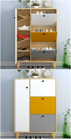 15 clever ways to store your shoes and boots - Living in a shoebox Wooden Shoe Rack Designs, Wooden Shoe Racks, Wooden Shoe Cabinet, Shoe Cabinet Design, Wall Mounted Shoe Rack, Home Furniture, Furniture Design, Rack Tv, Bench With Shoe Storage