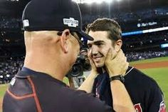 Merritt getting the OK from Cleveland Indians manager Fracona for his fantastic pitching against the Blue Jays in the 2016 playoffs.