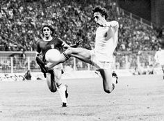 Johan Cruyff volleys home for Holland in their World Cup '74 group tie against Brazil