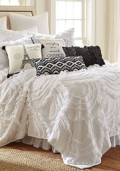 Bask in the luxurious comfort of the Kyra Quilt Set. Frilly and fun, the solid quilt lends a beautiful touch of texture with allover large arching ruffles. Ruffle Bedding, Quilt Bedding, Bedding Sets, Gray Bedroom, Bedroom Decor, Bedroom Ideas, Master Bedroom, White Comforter Bedroom, Bedroom Comforters