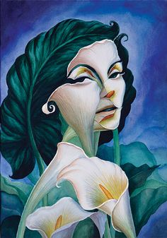 A surrealist illusion painting by Octavio Ocampo of a woman made out of lily flowers and leaves