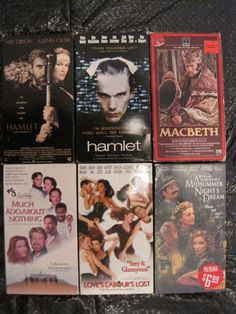 Lot of 6 Shakespeare VHS Movies: Hamlet, Macbeth, Midsummer, Labour's, Ado