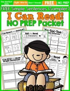 Building FLUENCY and CONFIDENCE is such an important aspect in learning how to read.  This I Can Read Simple Sentences NO PREP Sampler packet is from our I Can Read Simple Sentence BUNDLE!  The hands-on and engaging activities included in this sampler packet will make reading and fluency into a GAME!