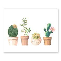 En pot de Cactus Art Illustration succulente impression