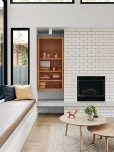 Pretty white brick fireplace with unusual built in cubby // Australian Interior Design Awards - Rose House by Watts Studio Living Room Modern, Home And Living, Home And Family, Family Life, Family Homes, Living Rooms, Australian Interior Design, Interior Design Awards, Style At Home