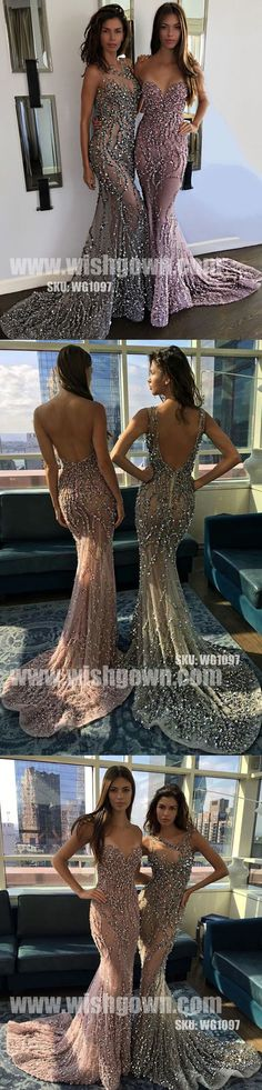 Popular Sexy Mermaid Beaded Seen Through Open Back Long Prom Dresses, WG1097 #promdress #promdresses #longpromdress #longpromdresses #eveningdress