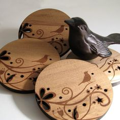 Bird on a Branch - Wood coasters by Peppersprouts. I have a thing for birds right now....so sweet!