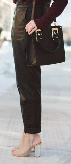 Vegan Leather Overalls + Peep-toe Booties