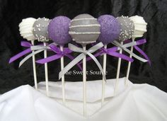 I think these are too cute and would be a sweet treat for your bridal shower.  Just an idea :-D! Purple and silver Wedding Cake Pops Made to Order with by TheSweetSource Wedding Cakes, Grey, Buffet Ideas, Silver, Desserts, Creative Wedding Ideas, Candy Buffet, Purple Wedding, Cake Pops