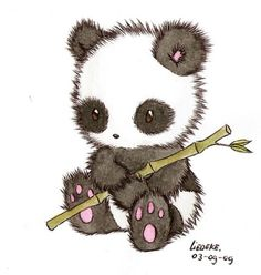 Such a cute and fuzzy drawing of a panda bear So kawaii