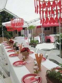 Italian Dinner party red and white table decor