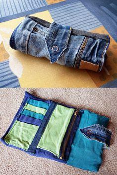 Denim/Recycled Jeans Patchwork Purse by *ajnataya on deviantART