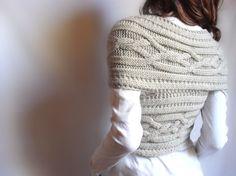 Hand knit  Cross Sweater Capelet Vest Neck warmer in by Pilland, $98.00