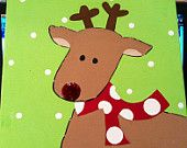 12X12 Christmas/Rudolph Hand Painted Canvas