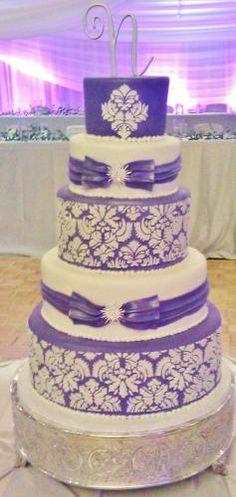 Purple and white Wedding Cake.