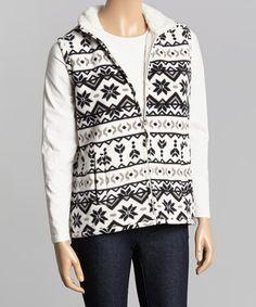 Black & Pearl Fair Isle Fleece Vest - Women #zulily #zulilyfinds