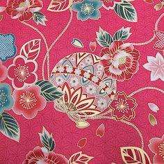 和柄生地和風花柄着物風花と手毬ピンク