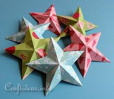 Crafts Made From Scrapbook Paper | Christmas Paper Craft - Dimensional 5-Pointed Stars Using Scrapbook ...