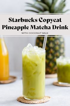 This Starbucks Copycat Iced Pineapple Matcha Drink is the perfect refreshing drink for all matcha tea lovers! It's really easy to make with coconut milk and ginger, and tastes just like the Starbucks version with much less sugar! Matcha contains caffeine and is healthier than coffee so it's the perfect brunch drink.
